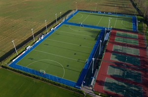 Aerial view of hockey pitches